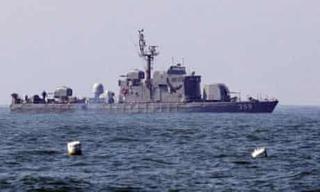 A South Korean naval coast defense ship on patrol