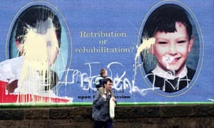 A defaced poster of Venables and Thompson in Edinburgh