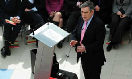 Gordon Brown speaking at the Launch of Labour's manifesto