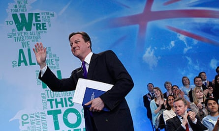 David Cameron takes to the stage at the launch of the Conservative party manifesto.