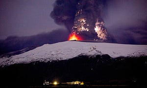 Lava rises from the volcano on Eyjafjallajokull in Iceland.