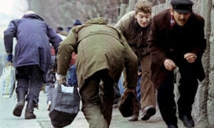 Running to avoid Serb snipers in Sarajevo
