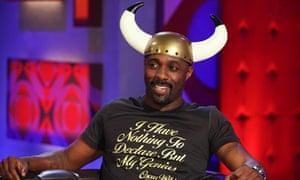 Idris Elba wears Viking helmet