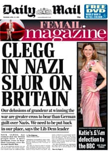 Daily Mail splash on Nick Clegg days after he was favourably compared to Winston Churchill