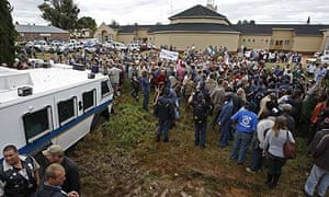 Supporters of Eugene Terre'Blanche gather outside court in Ventersdorp.