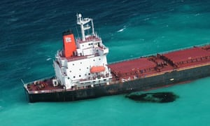 The Shen Neng 1 aground on the Great Barrier Reef