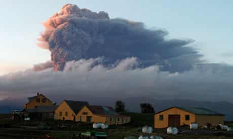A fresh cloud of ash rises from the volcano under the Eyjafjallajokull glacier in Iceland.