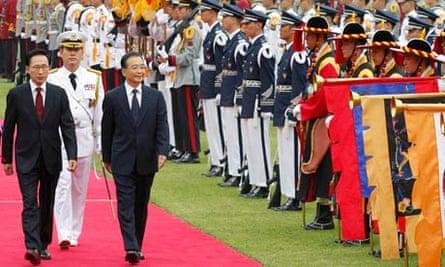 South Korean president Lee and Wen Jiabao
