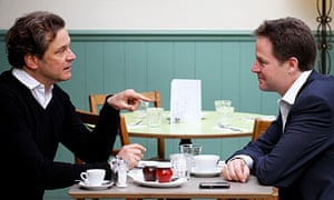 Nick Clegg has coffee with Liberal Democrat supporter and actor Colin Firth at a cafe in Putney
