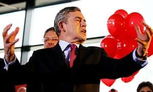 Gordon Brown talks to Labour supporters at Suffolk University in Ipswich.