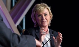 Tina Brown being interviewed by 'William Boot' at the Hay festival