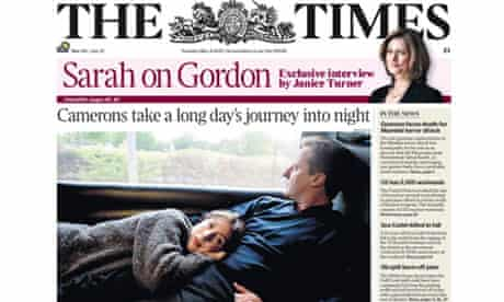 The Times front page David and Samantha Cameron