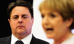 Nick Griffin listens to Labour candidate Margaret Hodge after the result in Barking.