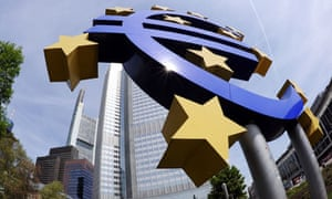 giant euro symbol outside the headquarters of the European Central Bank in Frankfurt