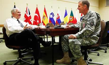 US defence secretary Robert Gates (l) meets General Stanley McChrystal at Nato HQ in Brussels.