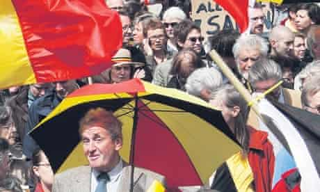 Belgian citizens take part in a rally calling for the country's unity in Brussels