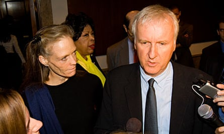 James Cameron and his wife, Suzy Amis Cameron, at a global environmental policy conference