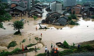 Roads and houses in Shayuan are submerged after floods hit south-east China's Jiangxi province.