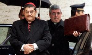 Cardinal Crescenzio Sepe leaving a meeting in Vatican City
