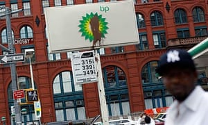 A defaced BP petrol station sign on New York's Houston Street.