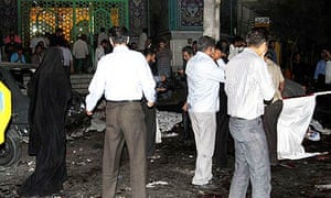 The aftermath of two suicide bombings outside a mosque in Zahedan, Iran.