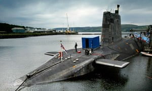 HMS Vengeance, a Trident missile nuclear submarine, at Faslane naval baseon the Clyde, Scotland