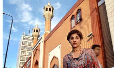 Journalist Zaiba Malik outside the East London Mosque in Whitechapel.