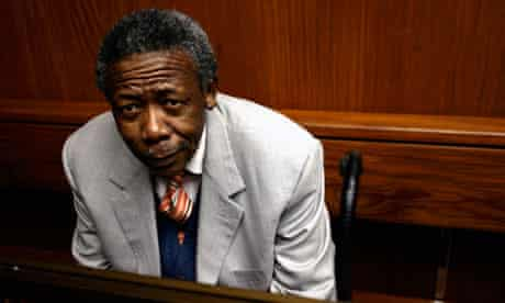 Former South Africa police chief Jackie Selebi in the  Johannesburg high court for the verdict.