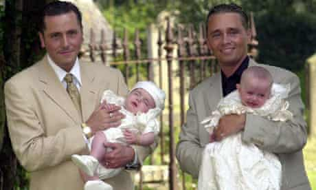 Gay couple Barry Drewit (R)  and Tony Barlow who fathered surrogate twins Aspen (left) and Saffron