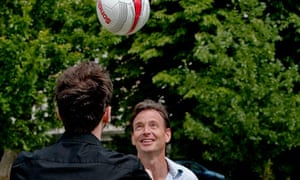 Tim Dowling and friend Andy play football