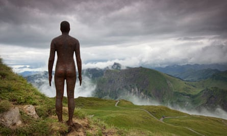 Antony Gormley statue in the Austrian Alps