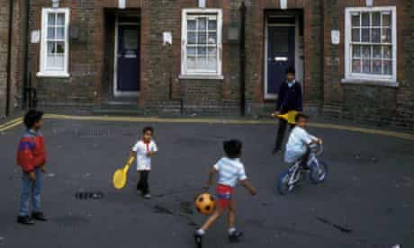 Bengali children playing in Spitalfields council estate