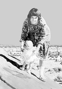 Lindy Chamberlain holding her daughter Azaria at Uluru (Ayers Rock), in August 1980.