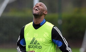 Nicolas Anelka of Chelsea laughs during a training session on April 10, 2009.
