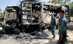 Remains of a truck burnt during protests in Bagdhis province, Afghanistan