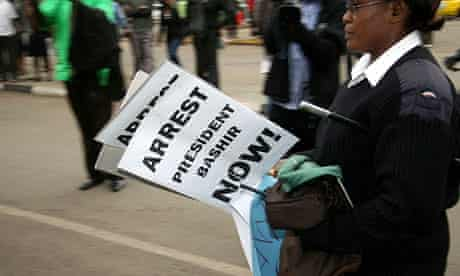 Confiscated placards calling for arrest of Omar al-Bashir