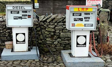 Petrol and diesel pumps by the side of the road in Bampton village, Cumbria