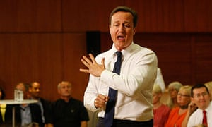 David Cameron at the question-and-answer session in Hove town hall.