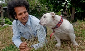 Sarfraz Manzoor with Cookie the English bulldog