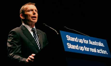 Australian opposition leader Tony Abbott launches his coalition campaign in Brisbane.