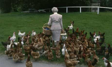 The duchess with her beloved chickens