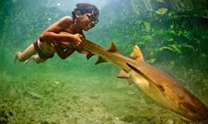boy with shark