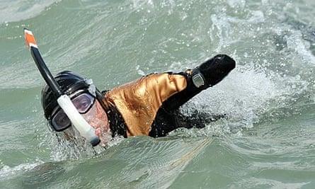 Philippe Croizon swimming in the sea off La Rochelle earlier this year