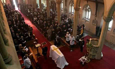 Mourners pay their respects at the funeral of second world war spy Eileen Nearne.