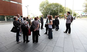 Supporters of Child M outside court in Manchester.