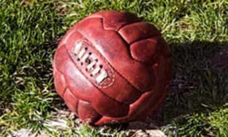 Vintage leather football on corner spot