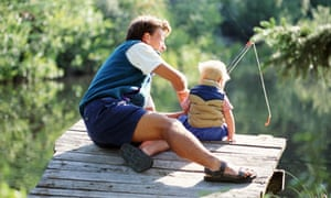 A father and son go fishing. Up to 40% of divorcing dads lose all contact with their children