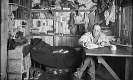 Captain Scott writing his journal, 1911