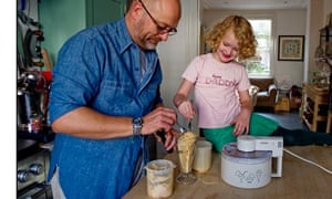 Food writer Tim Heyward and his daughter Liberty enjoy some ice cream he's just made.