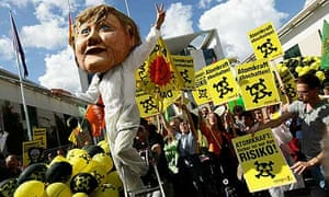 Anti-nuclear protests outside the chancellery in Berlin